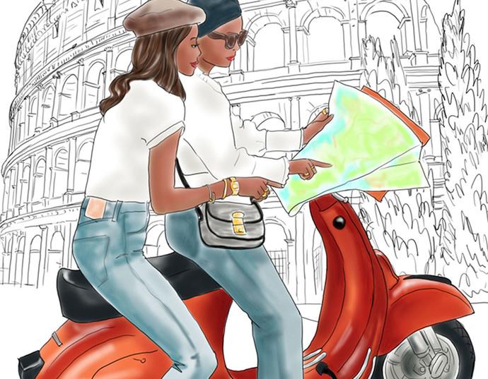 Watercolor fashion illustration - Friends in Rome - Dark Skin