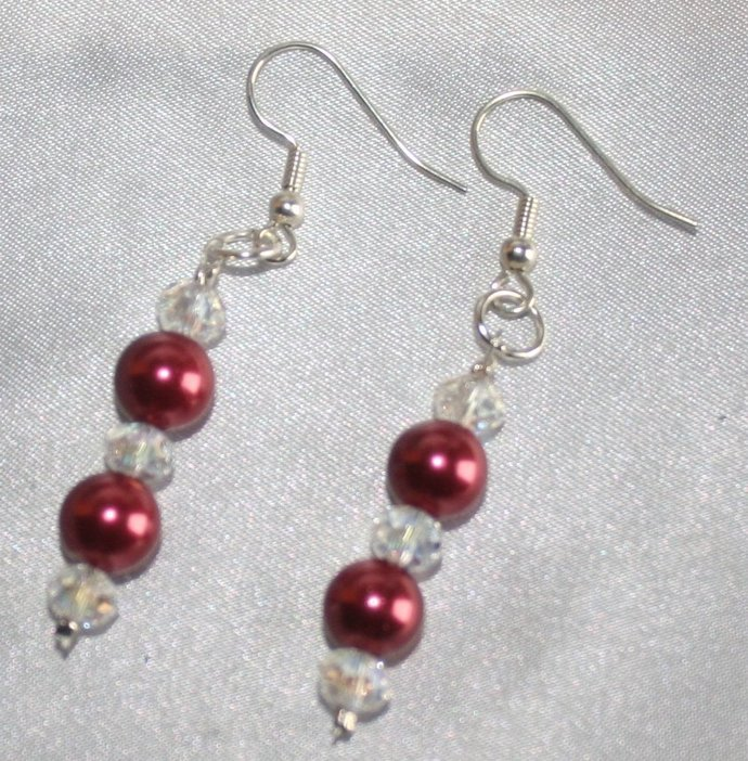 Dark Red Shell Pearl Statement Necklace with Earrings, Pearl and Crystal Bridal