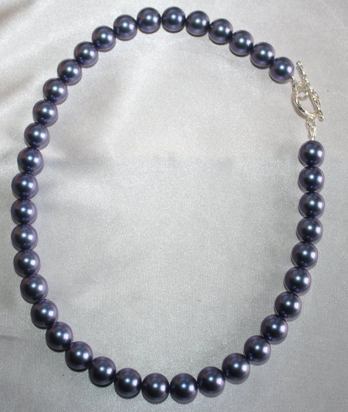 Chunky Blue Shell Wedding Statement Necklace, Large Pearl Bridal Necklace,