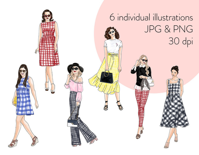 Watercolour fashion illustration clipart - Girls in Gingham - Light Skin
