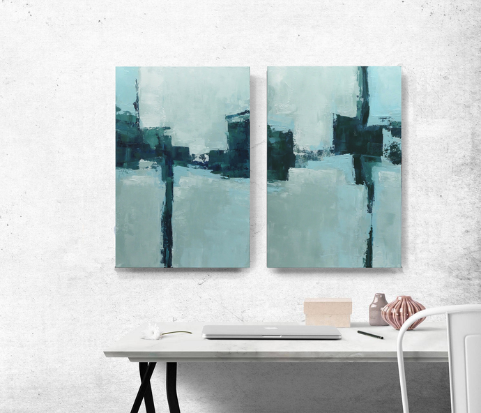 set of 2, Original Art, Coastal deco , wall art, custom word art, blue and