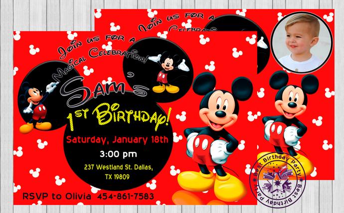 1st Birthday Party Invitations Mickey By Bestbirthdayparty On Zibbet