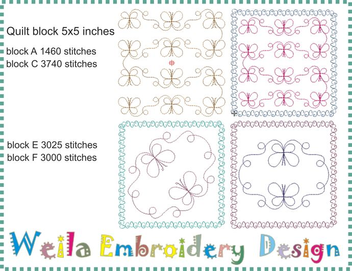 "Quilt block Butterflies 5"" (set 4pc) Machine Embroidery Design Patterns baby"