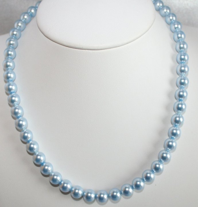 Swarovski Light Blue Crystal Pearl Statement Necklace, Mother of the Bride
