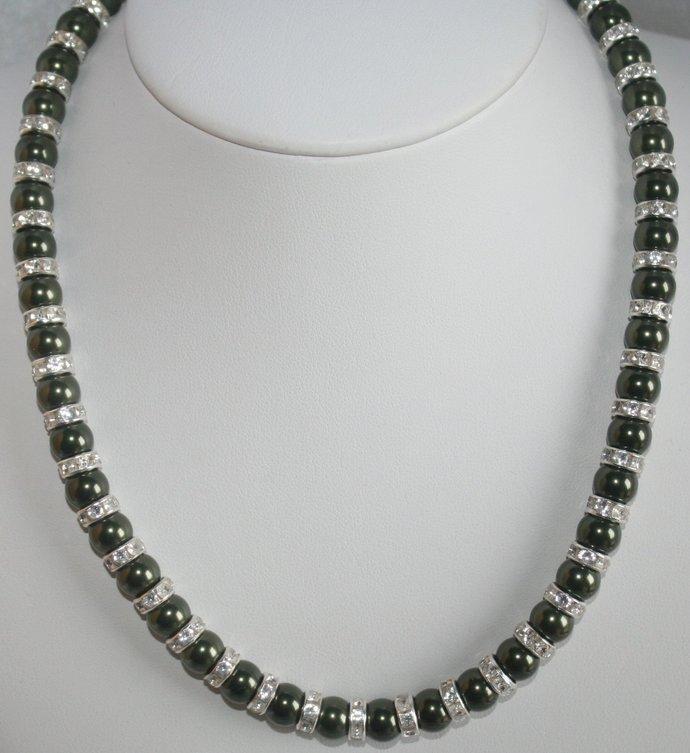 Swarovski Dark Green Pearl Statement Necklace, Rhinestone Wedding Necklace,