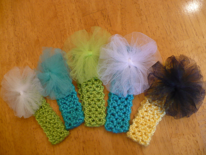 Hand Crochet Baby Headbands With Detatchable Pouf Interchangeable Very Stretchy
