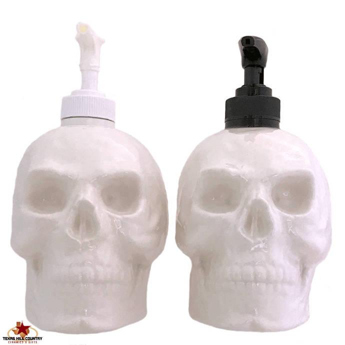 Ceramic Skull Soap Dispenser in White Halloween Horror Decor for Bath Vanity
