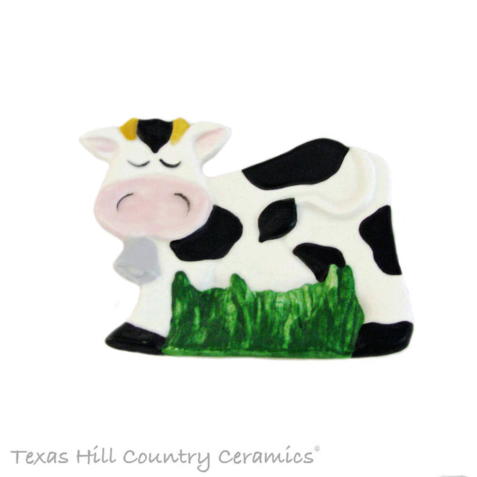 Cow Spoon Rest or Tea Bag Holder Holstein Black and White Country Farm Kitchen