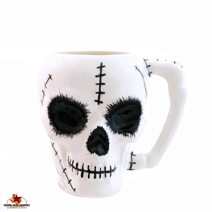 Zombie Ceramic Skull Mug with Stitch Design Thin Bone Style Handle 8 Ounces