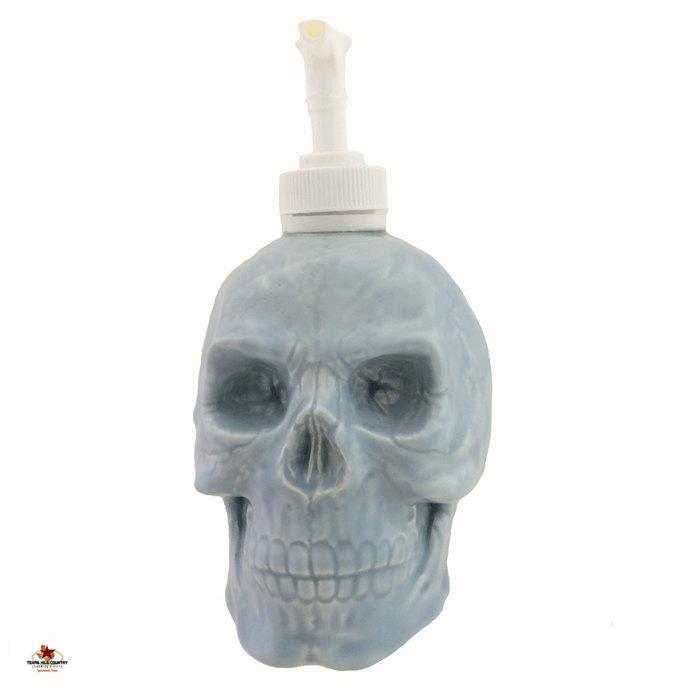 Skull Soap Dispenser in Light Blue for Mens or Boy's Bath Vanity, Pale Blue