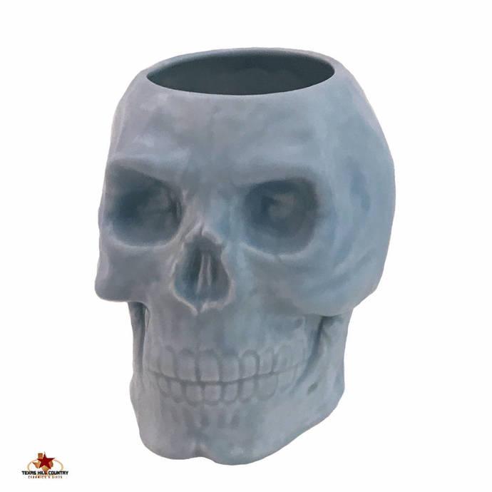 Light Blue Ceramic Skull Holder for Toothbrushes on Bath Vanity, Skull Planter,