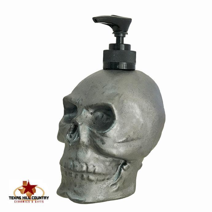 Skull Dispenser Industrial Steel Finish, Ceramic Horror Halloween Decor for Bath