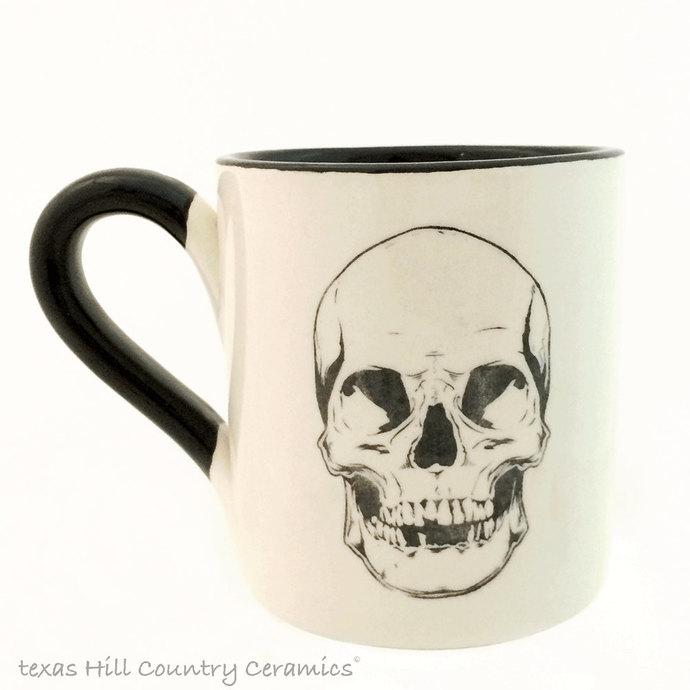 Ceramic Black Skull Coffee Mug, Mug for Serving Hot And Cold Beverages, Haunted