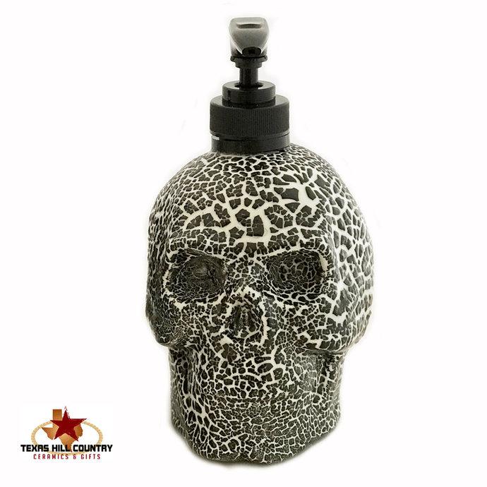 Skull Soap Dispenser Creepy Textured Ceramic Halloween Horror Haunted Friday