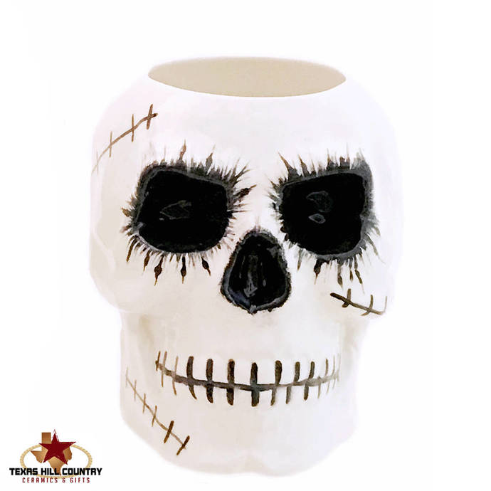 Ceramic Zombie Virus Skull Toothbrush or Makeup Brush Holder for Bath Vanity or