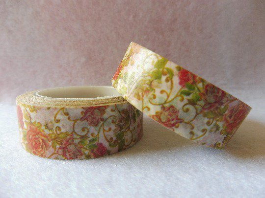 Washi tape with floral decorations