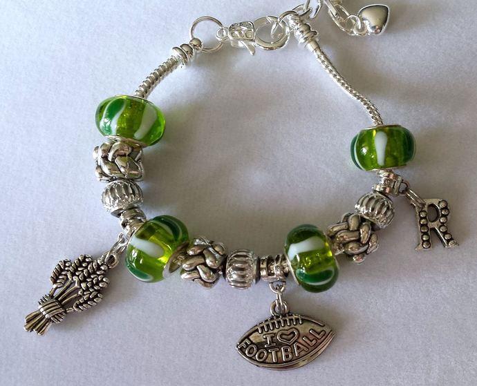 SK Rider football themed wheat sheave charm bracelet