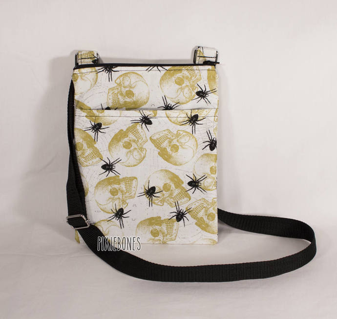 Cross Body Bag - Skull and Spider Print - Ready To Ship!