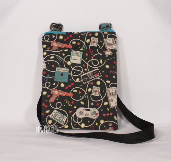 Cross Body Bag Retro Gamer Print - Ready to Ship!