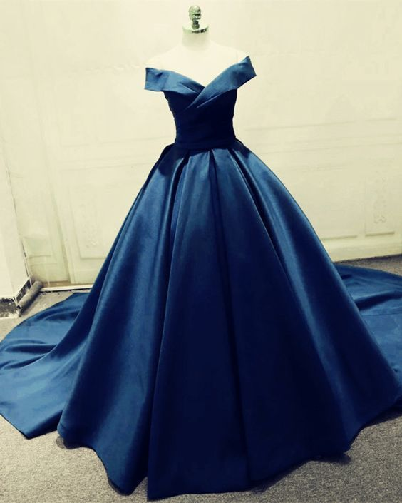 navy blue off the shoulder prom dresses long party by hiprom on zibbet