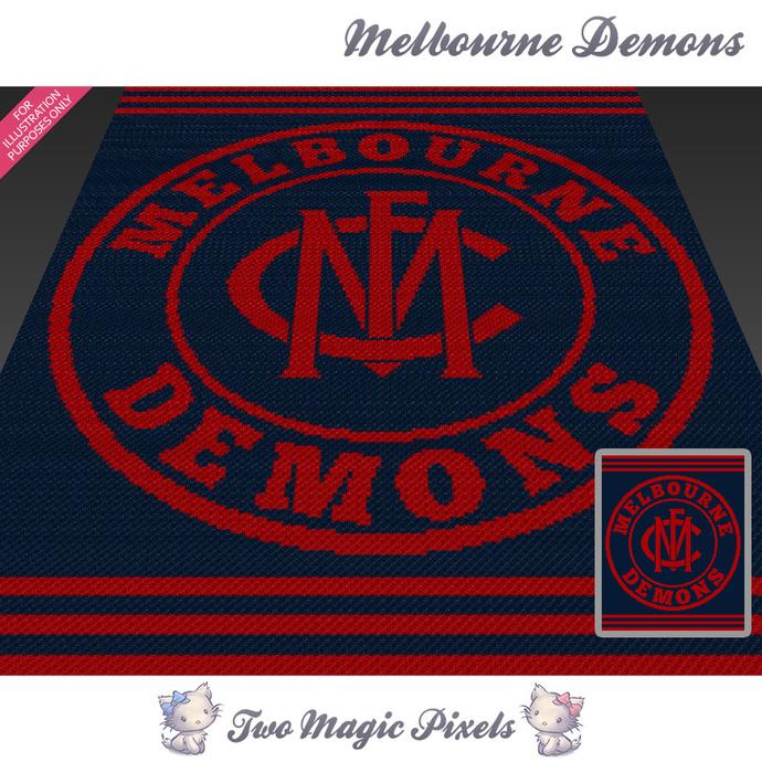 Melbourne Demons crochet blanket pattern; c2c, cross stitch graph; pdf download;
