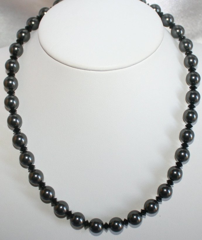 Swarovski Black Pearl Statement Necklace, Black Wedding Necklace with Matching