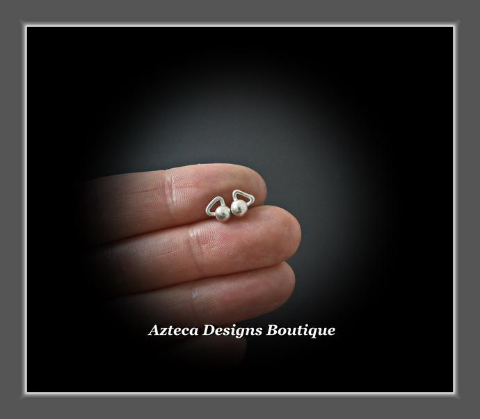 Sterling Silver Kettlebell Stud Post Hand Fabricated Earrings PAIR #5