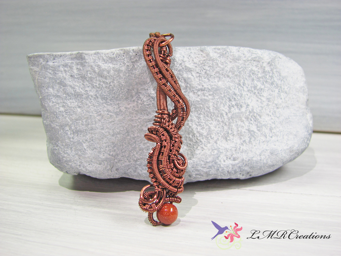 Wire Wrapped Necklace with Copper Sun Stone Bead, Antiqued Copper Wire Woven