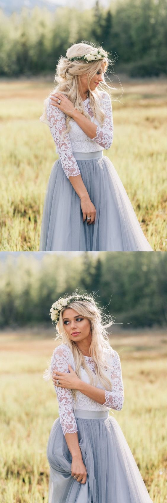 A-Line 3/4 Sleeves Grey Tulle Bridesmaid Dress With Lace 1537