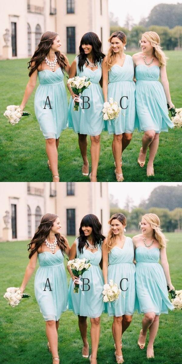 c8c8866b5a27 Simple Styles Junior Chiffon Mismatched Knee Length Mint Green Short Wedding
