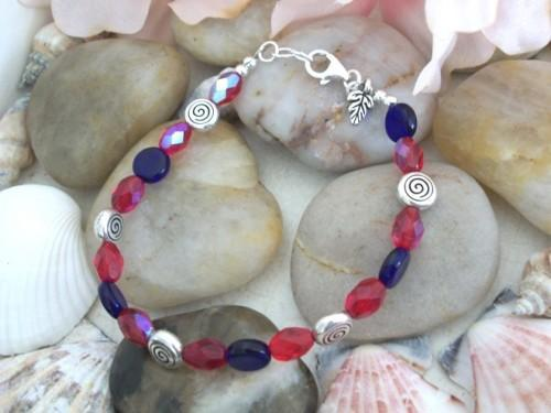 Sterling Silver Beaded Handmade Bracelet with Dangle Charm in Red and Blue