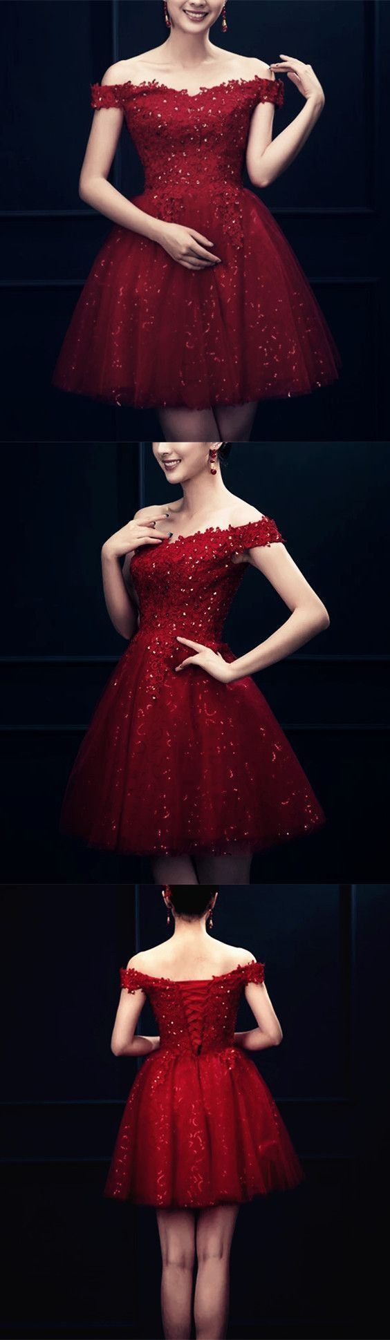 Elegant Lace Appliques Off The Shoulder Sequin Skirt Homecoming Dress 1574