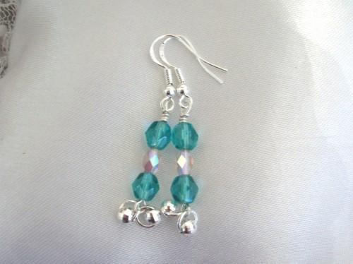 Sterling Silver Beaded Handmade Earrings with Teal Czech Dangles