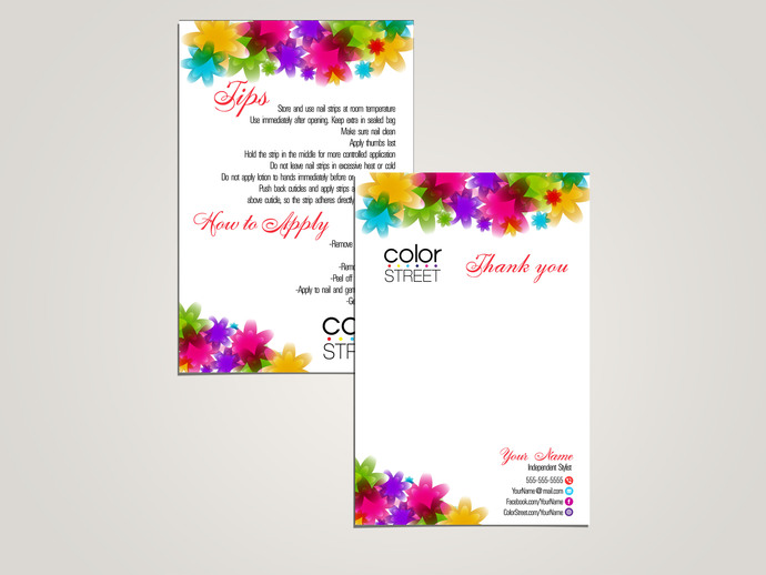 Color Street Thank you card and Tips-How to apply card - Colorful Flowers