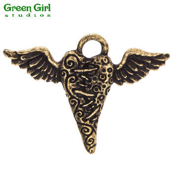 Green Girl Brass Ox Flying Heart Pendant