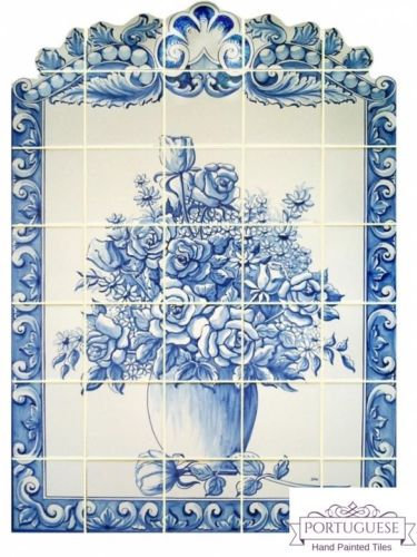 Portuguese Hand Painted Ceramic Floral By PortugueseTiles On Zibbet - Ceramic tile murals for outdoors