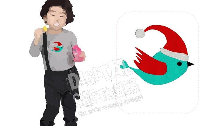 Bird Machine Embroidery Design Santa Claus Christmas 5 Sizes