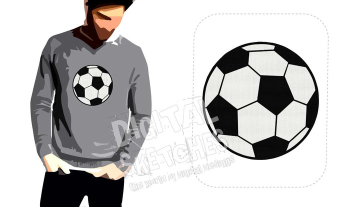 Soccer Ball Machine Embroidery Design 7 Sizes