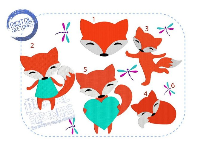 Fox Machine Embroidery Design SET