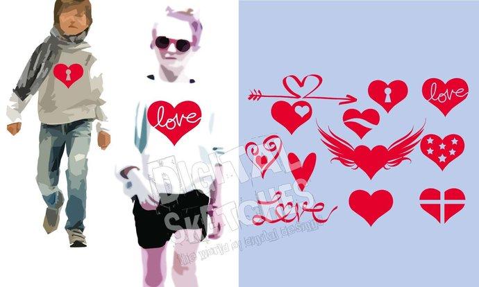Love Heart Set Bundle Cut File .SVG .DXF