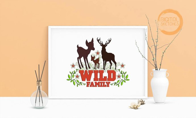 Machine Embroidery Design Saying  Wild Family Deer Wall Art Decor Embroidery Art