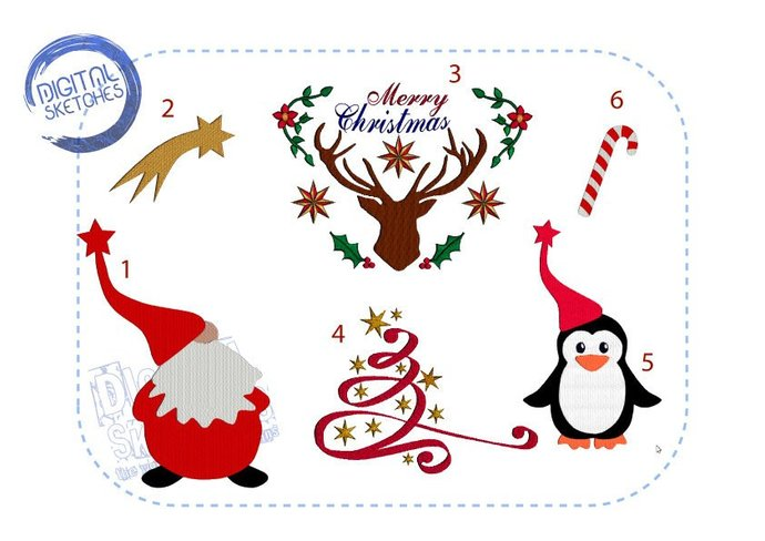 Christmas Machine Embroidery Design Set Merry Christmas Deer Penguin Santa Claus