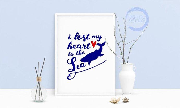 Machine Embroidery Design Quote I Lost My Heart To The Sea Art Wall Decor