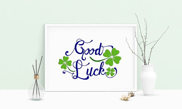 Machine Embroidery Design Saying Good Luck Cloverleaf Wall Decor Embroidery Art