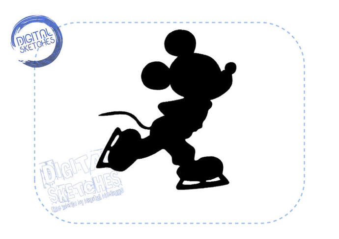 Mickey Mouse Style Machine Embroidery Design Ice Skates Winter Sport 4 Sizes