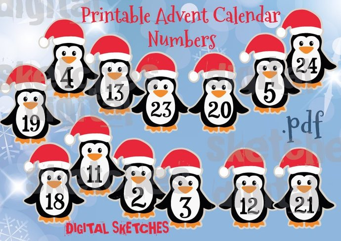 photo regarding Advent Calendar Numbers Printable named Arrival Calendar Figures .PDF Printable Do-it-yourself Family vacation Santa Claus Penguin Merry Xmas PDF Quick Down load