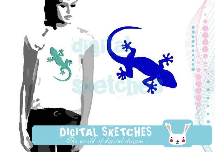 Gecko Salamander Lizard Machine Embroidery Design  5 Sizes