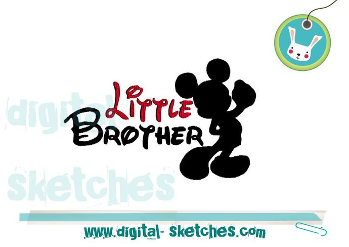 Little Brother Mickey Mouse Style Machine Embroidery Design 3 Sizes