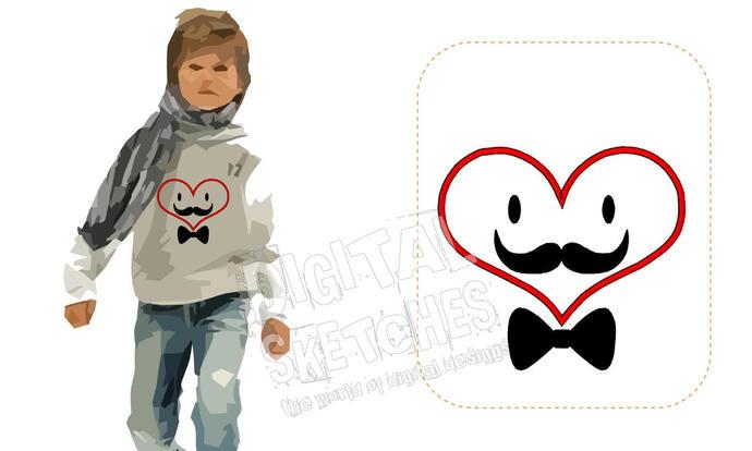 Heart mustache applique machine by digital sketches on zibbet