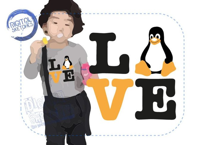 tux linux penguin saying love cut file by digital sketches on zibbet